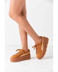 2d01324afe5bdf Lyst - PUMA Fenty By Rihanna Suede Cleated Creeper Sneaker in Brown