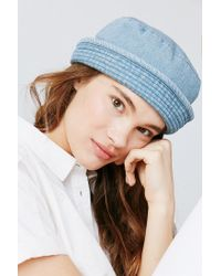 05f0932b43d Lyst - Urban Outfitters Denim Sailor Hat in Blue