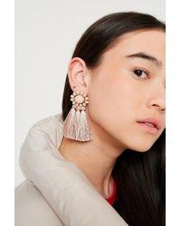Urban Outfitters - Pink Beaded Tassel Drop Earrings - Lyst