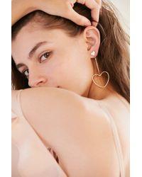 Urban Outfitters | Metallic Billie Rhinestone Heart Drop Earring | Lyst
