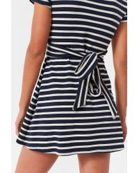 Urban Outfitters - Blue Uo Wrap Front Striped Mini Dress - Lyst
