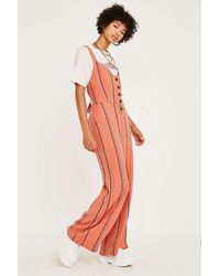 Urban Outfitters Uo Ashley Striped Button Through Tie Back Jumpsuit