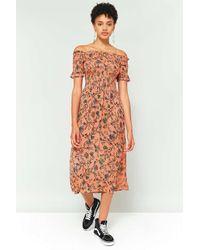 b6c3c7912f71 Kimchi Blue. Women's Picnic Orange Floral Off-the-shoulder Midi Dress