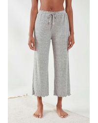 Out From Under Gray Cosy Ribbed Lettuce Edge Culottes