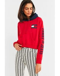 ed9ddb6dcc5b08 Tommy Hilfiger. Women s Red Tommy Jeans  90s Contrast Cropped Hoodie  Sweatshirt