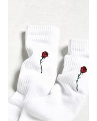 Urban Outfitters - White Embroidered Rose Sport Sock - Lyst