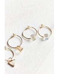 Urban Outfitters - Metallic Triangle Post + Hoop Earring Set - Lyst