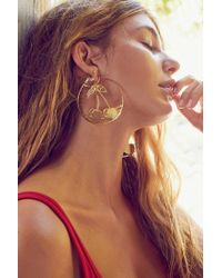 Urban Outfitters - Metallic Etched Cherry Statement Hoop Earring - Lyst