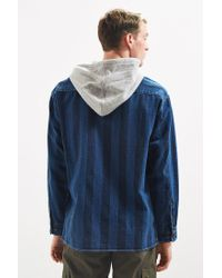 Urban Outfitters - Blue Uo Printed Denim Hooded Button-down Shirt for Men - Lyst