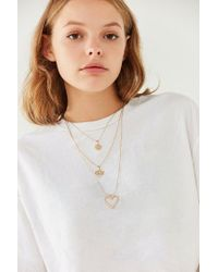 Urban Outfitters - Yellow Sweetheart Chain Layering Necklace - Lyst