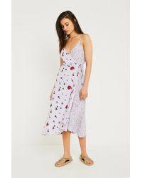 1bb62119ca Urban Outfitters Uo Wrap Midi Slip Dress in Purple - Lyst