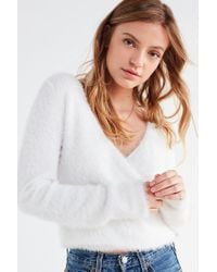 Urban Outfitters - White Uo Fuzzy Wrap Cardigan - Lyst