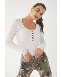 Urban Outfitters - White Uo Babe Ribbed Knit Pullover Sweater - Lyst