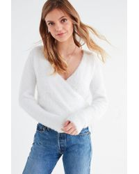 Urban Outfitters | White Uo Fuzzy Wrap Cardigan | Lyst