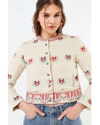 Urban Outfitters - Natural Uo Embroidered Bolero Jacket - Lyst