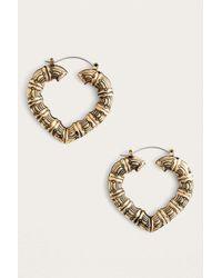 Urban Outfitters - Metallic Bamboo Heart Hoop Earrings - Womens All - Lyst