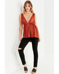 Urban Outfitters - Red Uo Isla Plunging Babydoll Tank Top - Lyst