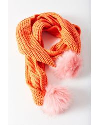 Urban Outfitters - Orange Colorblocked Pompom Scarf - Lyst