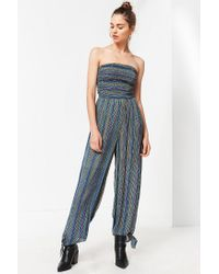 10da19350e9f Lyst - Urban Outfitters Uo Strapless Smocked Jumpsuit in Blue
