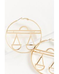 Urban Outfitters - Metallic Etched Zodiac Statement Hoop Earring - Lyst
