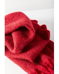 Urban Outfitters - Red Nubby Contrast Fringe Woven Scarf - Lyst