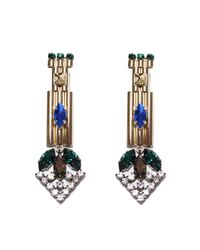 Iosselliani | Metallic Green Crystal Earrings | Lyst