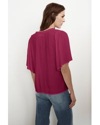 Velvet By Graham & Spencer - Multicolor Yelena Rayon Challis Ruffle Neck Top - Lyst
