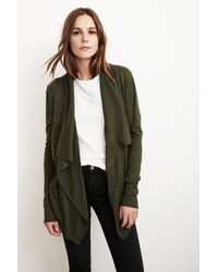 Velvet By Graham & Spencer - Green Frannie Lux Cotton Drape Cardigan - Lyst