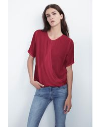 Velvet By Graham & Spencer | Red Aliss Wrap Front Challis Top | Lyst