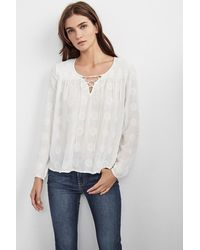 Velvet By Graham & Spencer | White Aurora Mandala Embroidered Gauze Lace-up Top | Lyst