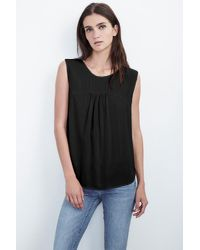 Velvet By Graham & Spencer | Black Daley Lace-up Back Challis Tank | Lyst