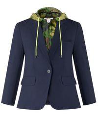 Veronica Beard - Blue Schoolboy Jacket With Camo Hoodie Dickey - Lyst