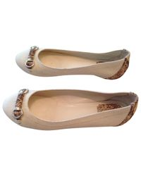 Dior | Pre-owned White Cloth Ballet Flats | Lyst