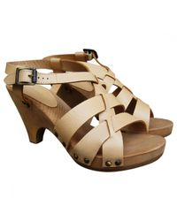 Chloé - Natural Pre-owned Beige Leather Sandals - Lyst
