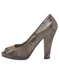 Miu Miu - Gray Grey Exotic Leathers Heels - Lyst