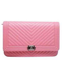 Chanel - Pink Pre-owned Wallet On Chain Leather Handbag - Lyst