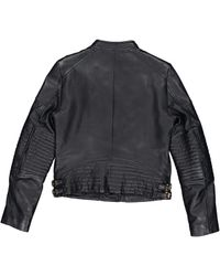 Michael Kors - Blue Leather Biker Jacket - Lyst