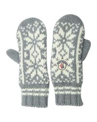 Moncler - Gray Wool Mittens - Lyst