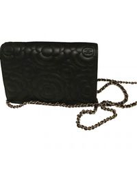 9f3bbd450563 Lyst - Chanel Wallet On Chain Leather Clutch Bag in Black