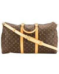 Louis Vuitton Brown Keepall Cloth Travel Bag