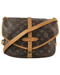 Louis Vuitton - Brown Pre-owned Saumur Leather Crossbody Bag - Lyst