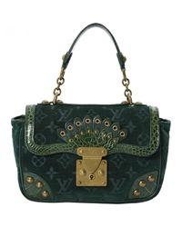 2c40fe82455d Louis Vuitton Velvet Handbag in Green - Lyst