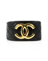 Chanel | Black Pre-owned Leather Bracelet | Lyst