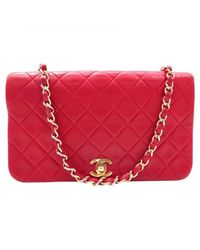 Chanel - Red Pre-owned Leather Crossbody Bag - Lyst