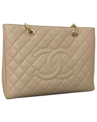 Chanel - Natural Grand Shopping Leather Handbag - Lyst