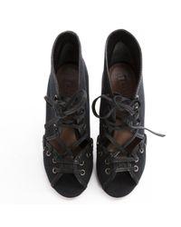 Alaïa - Black Cloth Lace Up Boots - Lyst