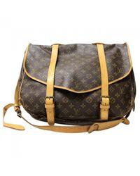 Louis Vuitton - Brown Pre-owned Saumur Cloth Travel Bag - Lyst