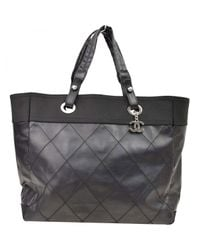 Chanel - Black Pre-owned Leather Tote - Lyst