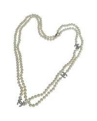 Chanel - White Pre-owned Pearls Long Necklace - Lyst