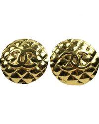 Chanel - Metallic Vintage Gold Metal Earrings - Lyst